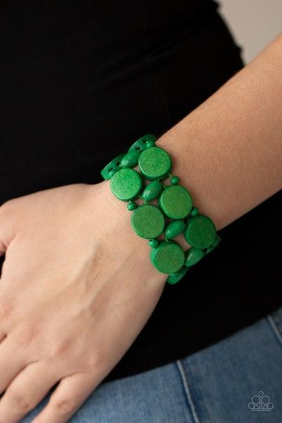 Beach Bravado - Green Wood Stretch Bracelet