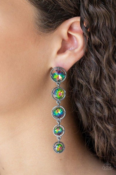 Drippin In Starlight - Multi - Oil Spill Rhinestone Earrings