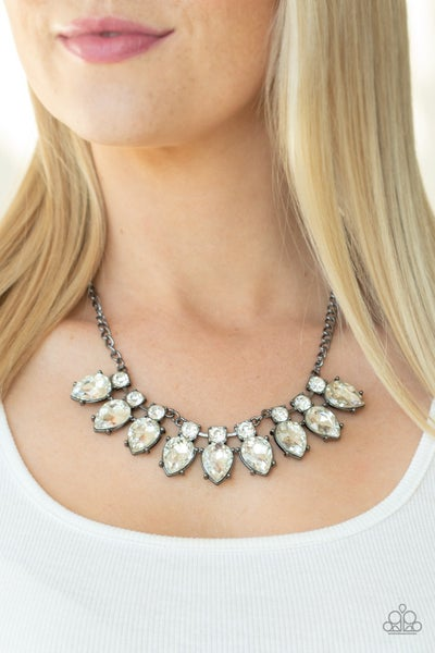 Extra Enticing - Gunmetal with White Rhinestones Statement Necklace & Earrings