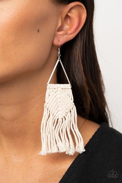 Macrame Jungle - White Macramé with Fringe Earrings