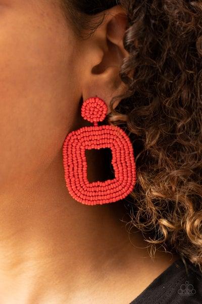 Beaded Bella - Red Seed Bead Earrings