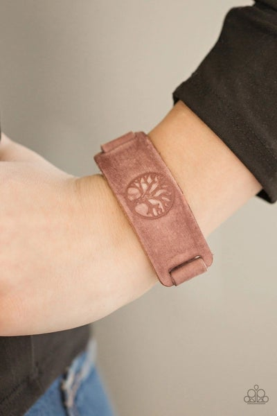 Remember Your ROOTS - Brown Leather Embossed with the Tree of Life - Snap Bracelet