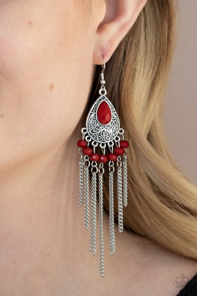 Floating on HEIR - Silver metal fringe with a Faceted Red Bead Earrings