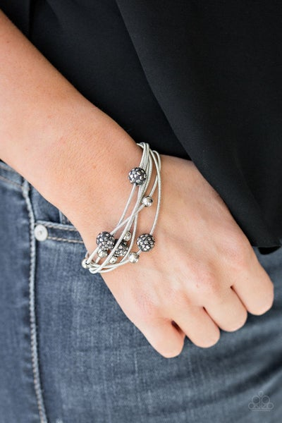 Marvelously Magnetic - Silver with Hematite encrusted beads Magnetic closure Bracelet