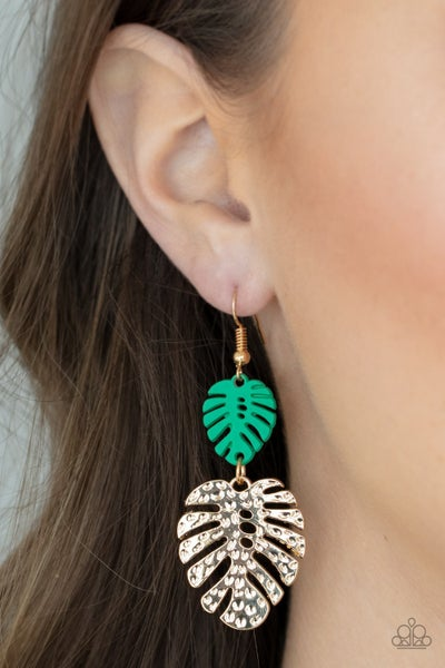 Palm Tree Cabana - Green Wood Palm Leaf & Gold Palm Leaf Earrings