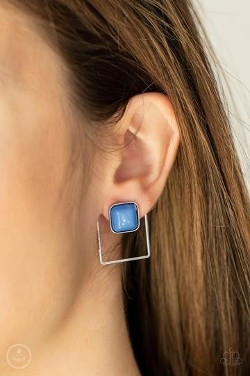 Flair and Square - Blue Bead Earring