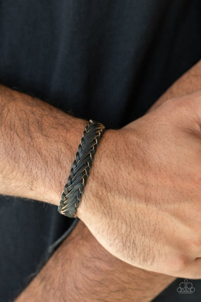 Pre-Sale Rodeo Roundup - Weaved Black Leather Pull-Tight/Slide Knot Bracelet