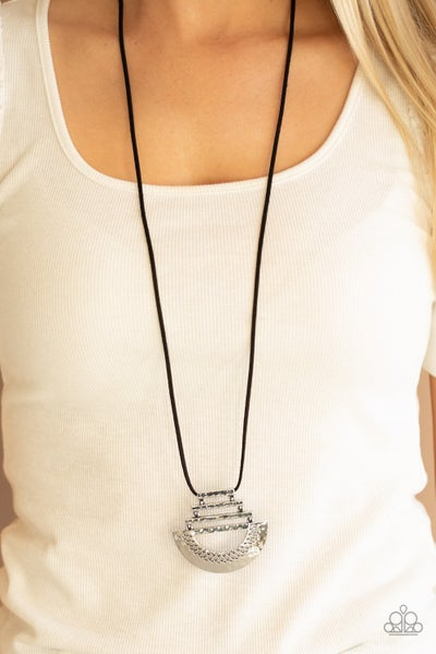 Rise and SHRINE - Black Leather with a Hammered Silver Pendant Necklace & Earrings