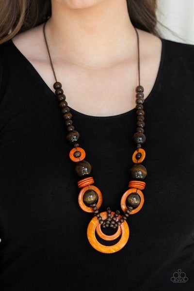 Boardwalk Party - Brown Wood Beads with Orange Wooden Hoops Necklace & Matching Earrings