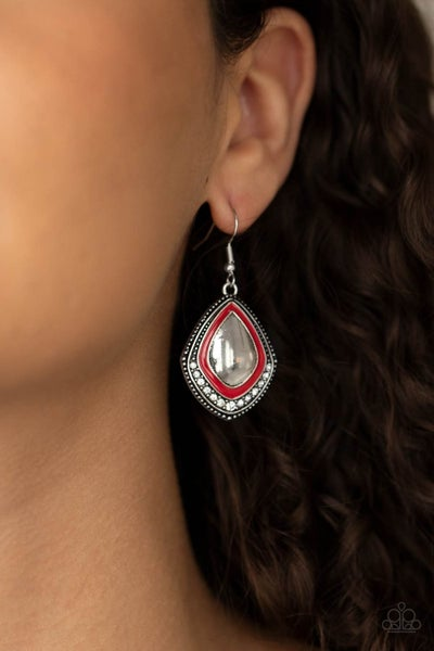 Fearlessly Feminine - Shiny Silver with Red painted frame and rhinestones Earrings