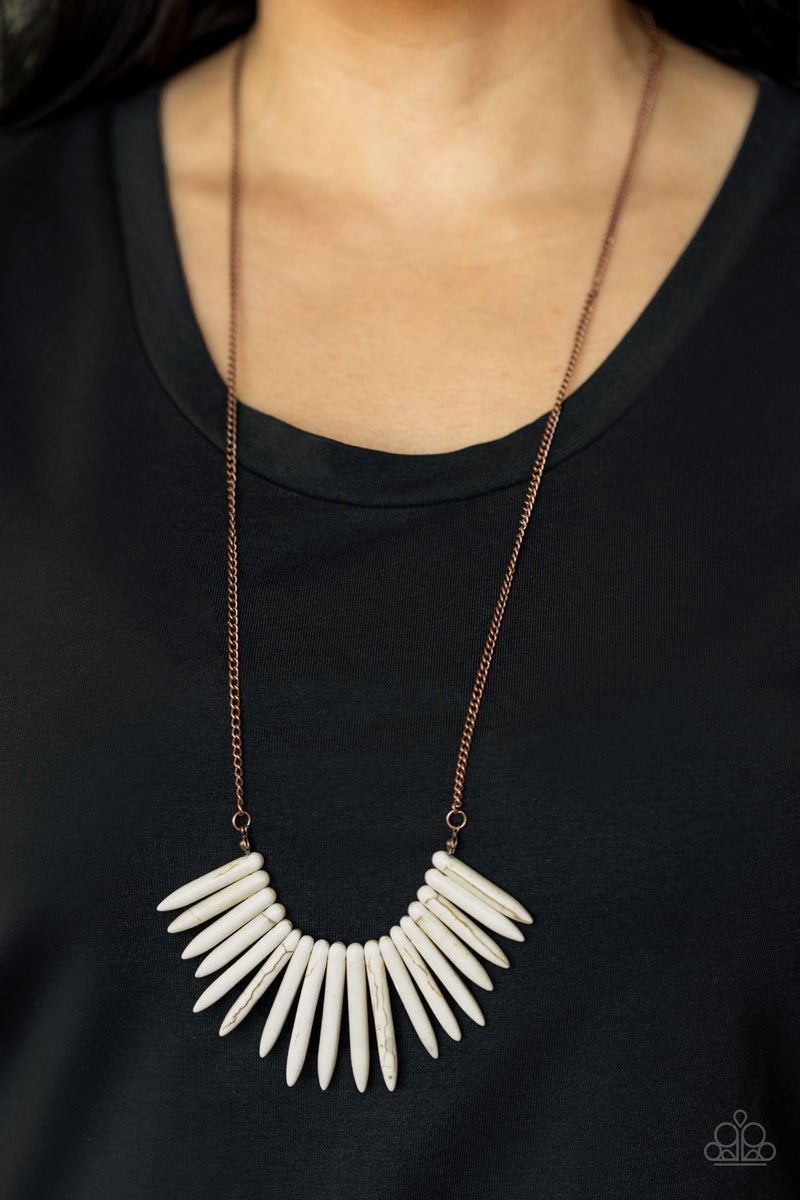 Exotic Edge - Copper with White Stone Spikes Necklace & Earrings