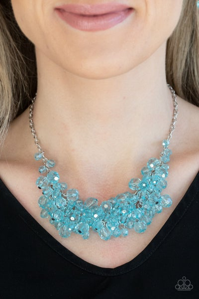 Pre-Sale Let The Festivities Begin - Silver strands with Blue crystal Beads Necklace & Earrings