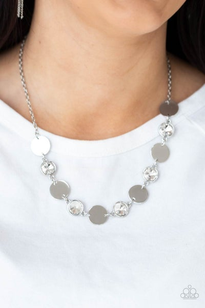Refined Reflections - Silver with White Rhinestones Necklace & Earrings