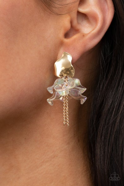 Harmonically Holographic - Gold with Iridescent Acrylic Petals -Earrings