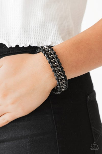 Pre-Sale Racer Edge - Black Leather with Gunmetal chain Urban slip knot/pull-tight Bracelet