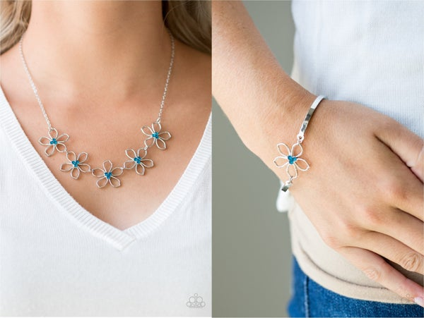 Pre-Order Hoppin Hibiscus and Hibiscus Hipster - Silver Floral frames with Blue Rhinestones Necklace & Earrings Set