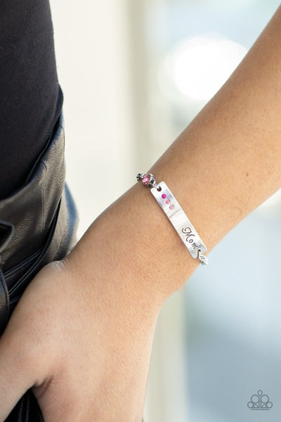 """Mom Always Knows - Silver plate stamped """"Mom"""" with Ombre Pink Rhinestones Bracelet"""