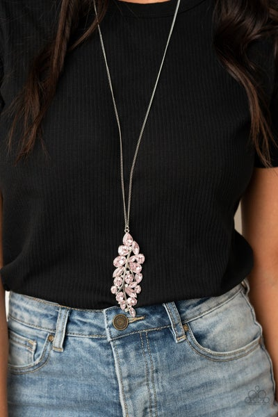 Pre-Sale - Take a Final BOUGH - Silver with large Pink Rhinestone collection Pendant Necklace & Earrings