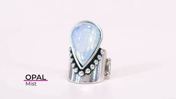 Opal Mist - Silver Band with a Large Teardrop Opal Ring