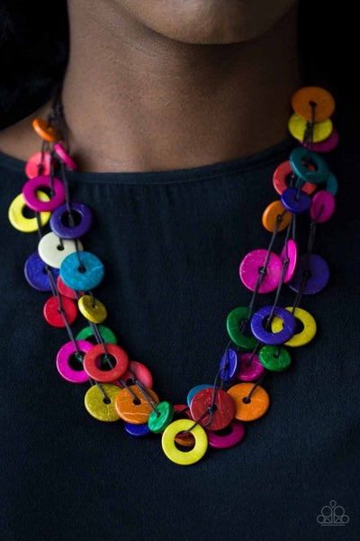 Wonderfully Walla Walla - Brown cordage with layers of Multicolored Wooden Beads Necklace & Matching Earrings