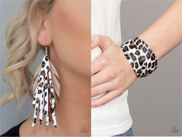 Untamable & Hey GRRirl - Cheetah Print Earrings & Bracelet Set
