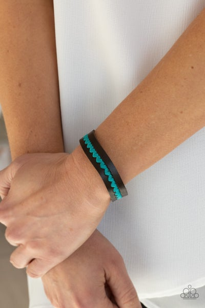 Made With Love - Brown Leather with stitched Blue Hearts Snap Bracelet