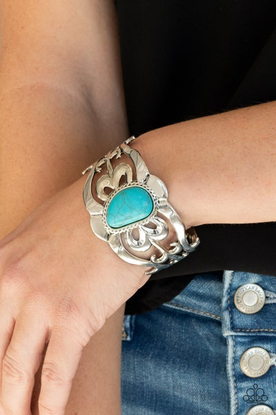The MESAS are Calling - Silver Filigree with asymmetrical Turquoise center stone Cuff Bracelet