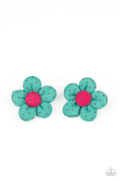 Pre-Sale - Polka Dotted Delight - Green with Pink Polka Dotted Flower Hair Clips