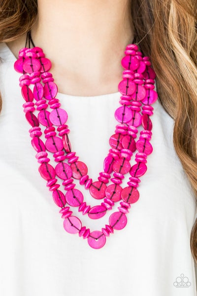 Barbados Bopper - Layered Pink Wood Necklace
