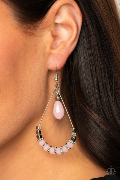 Lovely Lucidity - Silver with Pink Opalescent Crystal Bead Earrings