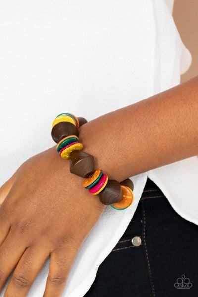 Pre-Sale Bermuda Boardwalk - Brown with Multi-Color Wood Stretch Bracelet