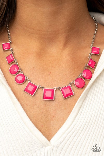Tic Tac TREND - Pink -Raspberry Sorbet square & round beaded Necklace & Earrings