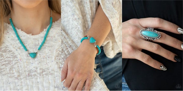 Pre-Sale Country Sweetheart, Charmingly Country & Leave No Trace - Silver, Leather & Turquoise Necklace, Earrings, Bracelet & Ring Set