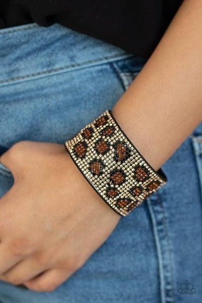 Cheetah Couture - Cheetah pattern in rhinestones - Snap Bracelet