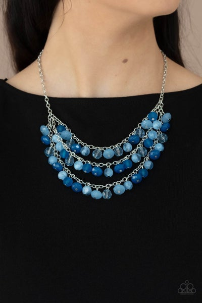 Pre-Order Fairytale Timelessness - Varied shades of Blue crystal-beads layered Necklace & Earrings