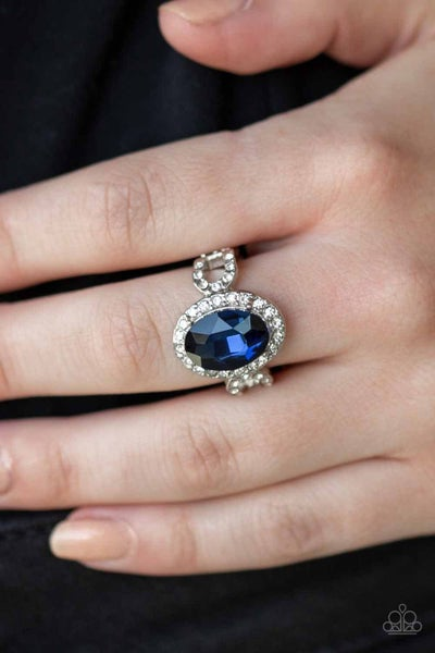 Magnificent Majesty - Silver with a Blue Oval Rhinestone framed in White Rhinestones Ring