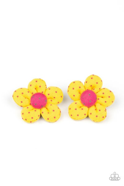 Polka Dotted Delight - Yellow with pink Polka Dots Flower Hair Clip