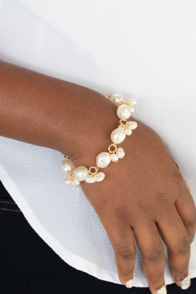 Imperfectly Perfect - Gold with white Pearls and Crystals Bracelet
