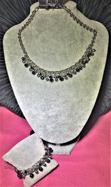 Trust Fund Baby & Just for the FUND of it! - Silver with Shiny Blue Crystals Necklace, Earrings & Bracelet Set