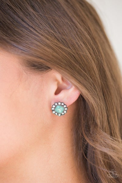 Little Lady - Silver with Green Moonstone surrounded by Rhinestones Earrings