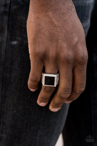 The Titan - Silver with Large Black Square Men's Ring