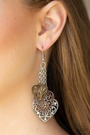 Once Upon A Heart - Brass, Copper & Silver Filigree Heart Earrings