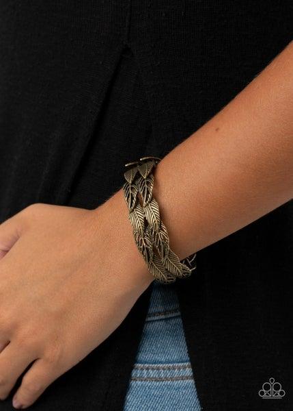 Its Five o FLOCK Somewhere - Brass Feathers Stretchy Bracelet