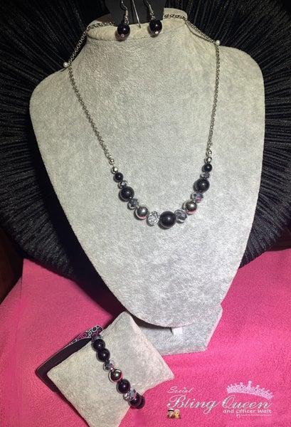 The Big Leaguer & Very VIP - Black, Silver & Hematite Necklace, Earrings & Bracelet Set