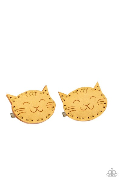 MEOW you're Talking - Yellow Suede Kitty Hair Clip