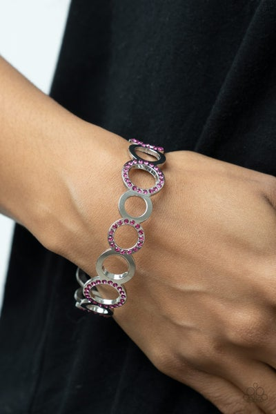 Future, Past, and POLISHED - Silver circles with Pink Rhinestones Bangle Bracelet