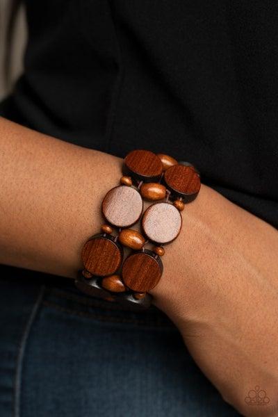 Pre-Sale Beach Bravado - Brown Wood Stretch Bracelet