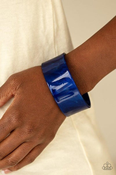 Glaze Over - Blue Acrylic Cuff Bracelet