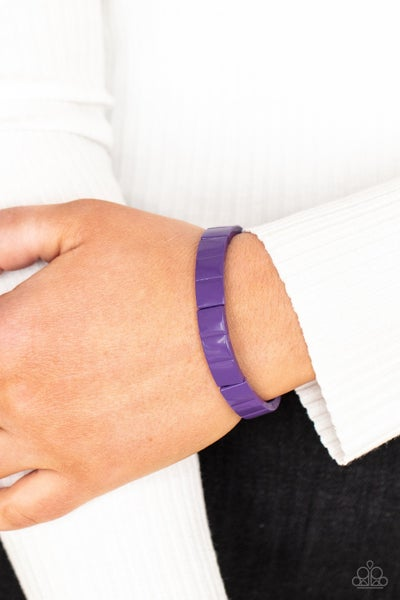 Material Movement - Purple Rectangles Stretch Bracelet