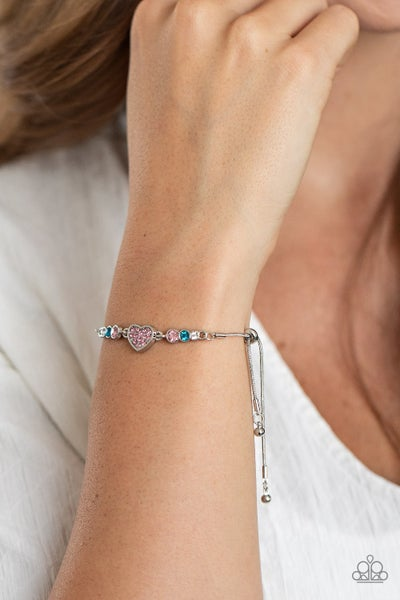 Pre-Sale - Big-Hearted Beam - Silver Heart with White, Pink & Blue Rhinestones Pull Tight Bracelet